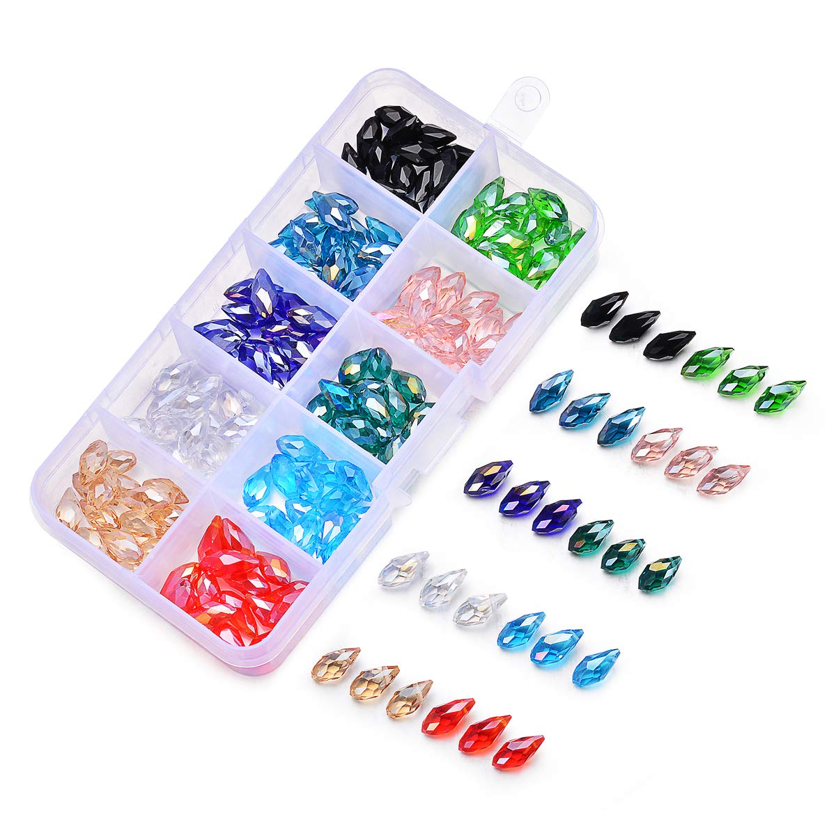 SROMAY 150pcs 6x12mm Teardrop Glass Crystal Beads, Briollete Top Drilled Shape Assorted AB Color Faceted Beads Pendants for Jewelry Making with Container Box