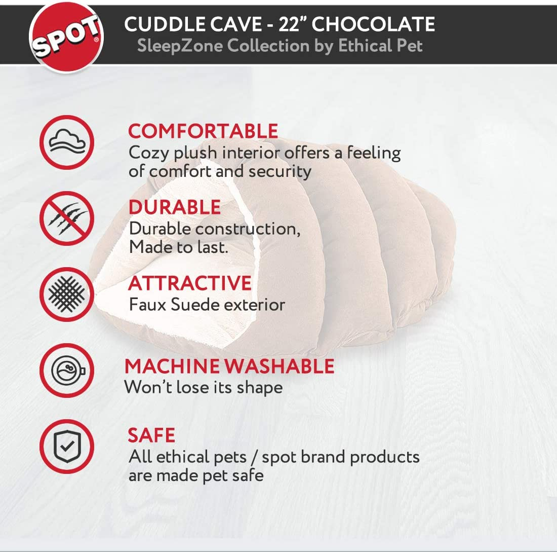 """SPOT Ethical Pets Sleep Zone Cuddle Cave - 22"""" Chocolate - Pet Bed for Cats and Small Dogs - Attractive, Durable, Comfortable, Washable, Cuddle Cave Pet Bed, 22x17 : Pet Supplies"""