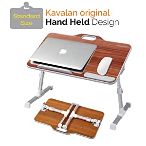 Kavalan Standard Size Portable Laptop Table with Handle, Height & Angle Adjustable Sit and Stand Desk, Bed & Breakfast Table Tray, Foldable Notebook Stand Holder for Sofa Couch - American Cherry