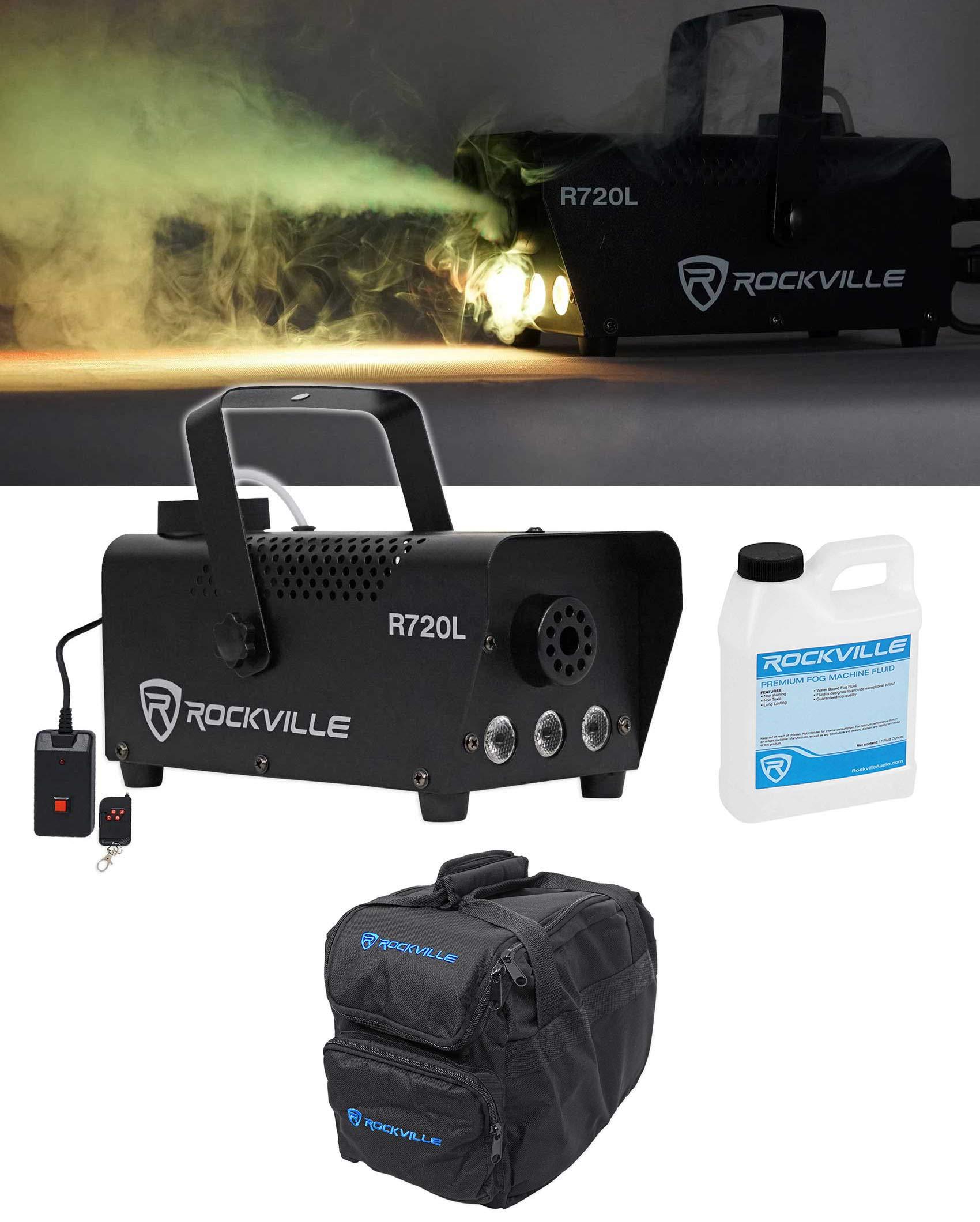 Rockville R720L Fog/Smoke Machine w/Remote+Fluid+Multi Color LED's+Carry Bag by Rockville