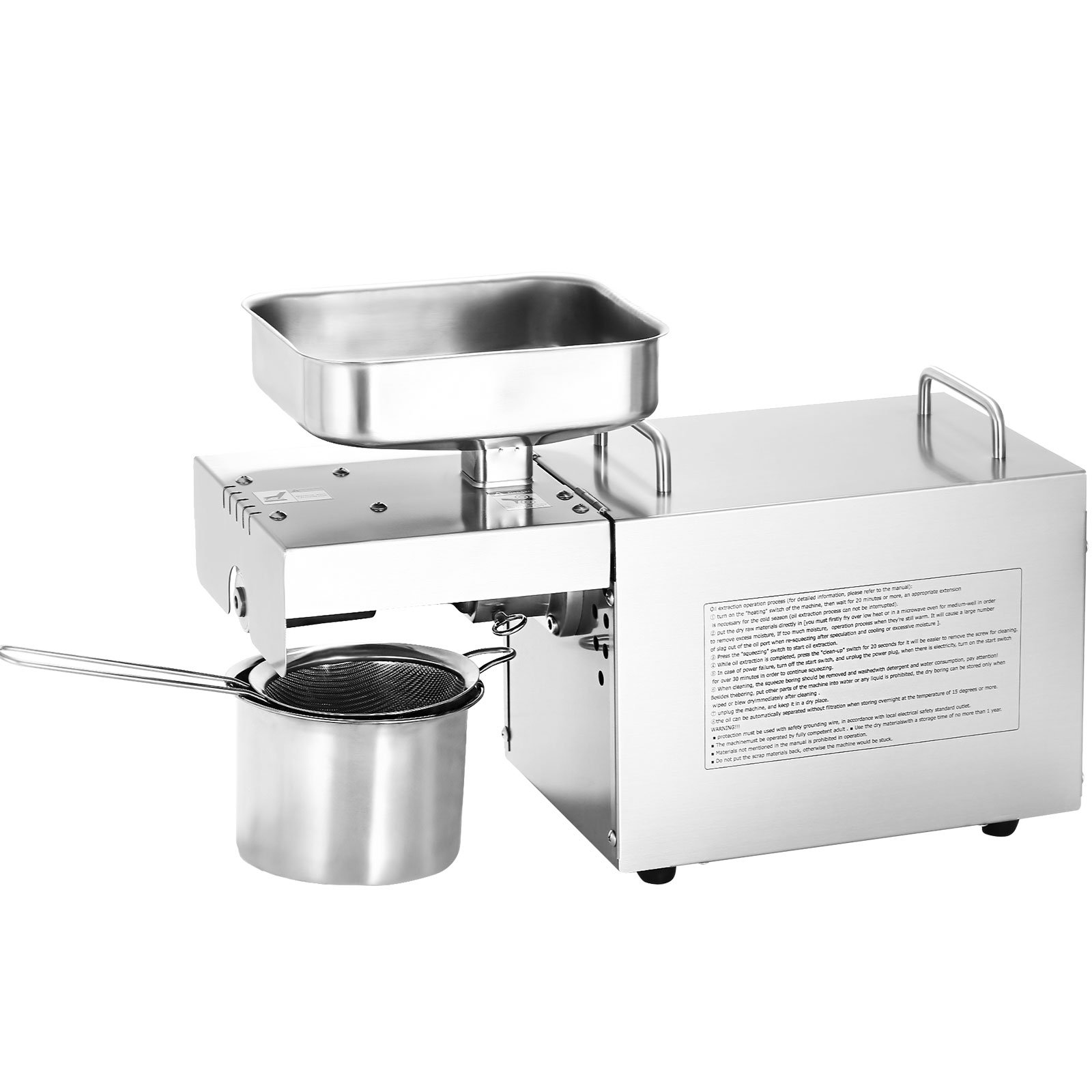 LOVSHARE Automatic Oil Press Machine Stainless Steel 95% Oil Yield Oil Expeller Machine 3 Settings Commercial Oil Press Machine Extractor for Home