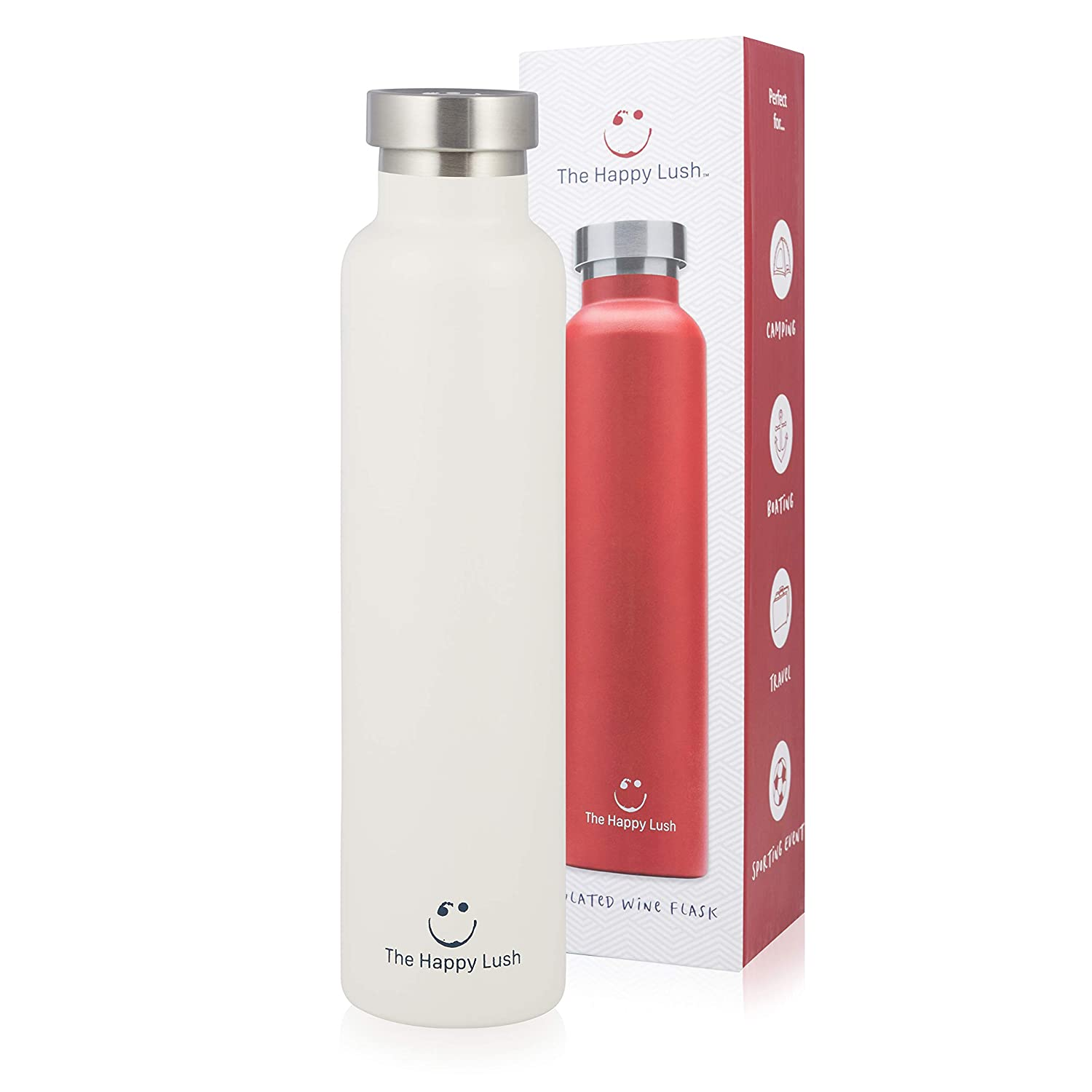 The Happy Lush White 750 ml Insulated Wine Flask with Lid – Stainless Steel, Double Walled Vacuum Insulated Travel Bottle & Wine Growler for Hot and Cold Beverages