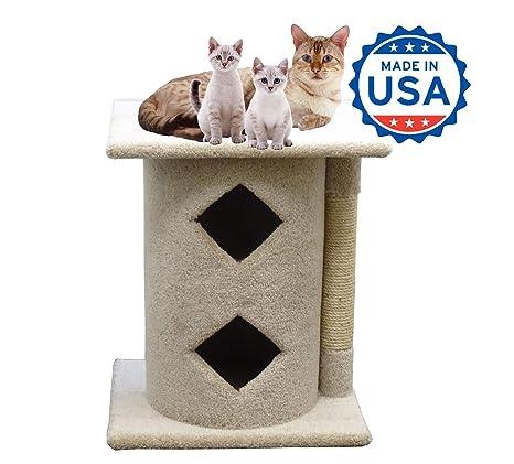 Amazon.com: Alfombra condominio de gato dos pisos madera Cat ...