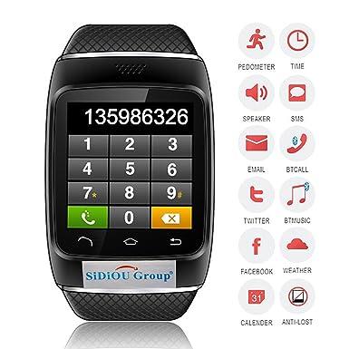 Sidiou Group S12 reloj inteligente Bluetooth 1.54 pulgadas de pantalla táctil capacitiva Bluetooth Smart sincronización del