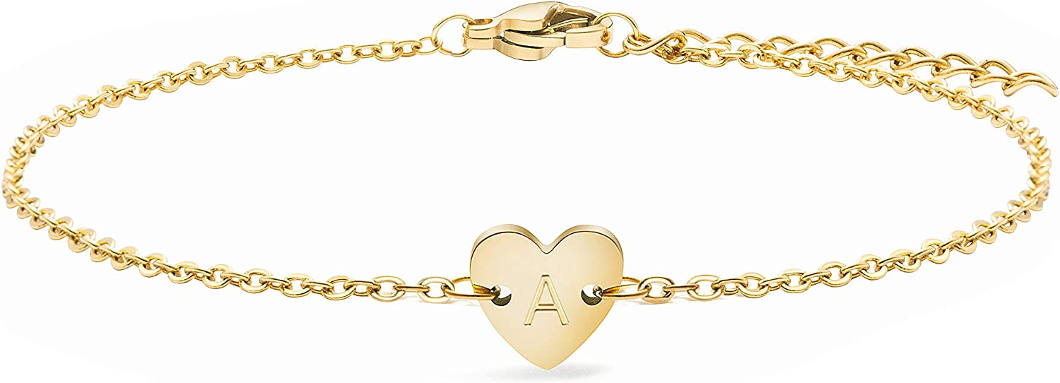 Joycuff Cute Heart 18K Real Gold Initial Anklet 26 Alphabets Charm Jewelry Dainty Letter Beach Gifts for Teen Girls Sister Wife Daughter Best Friend Girlfriend