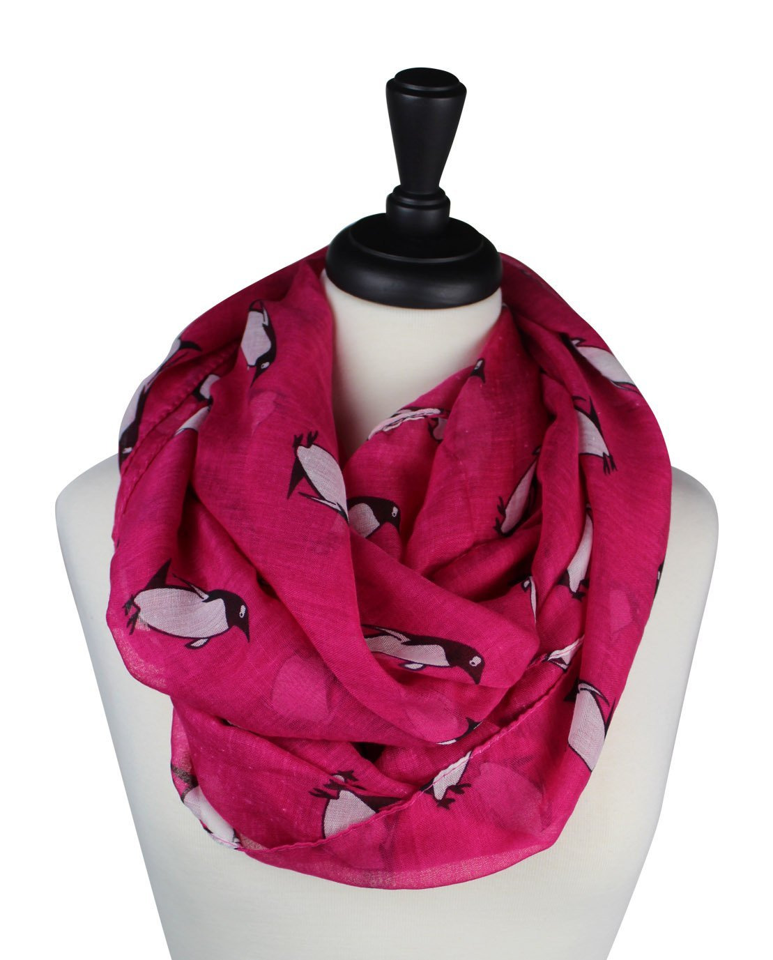 KnitPopShop Infinity Penguin Loop Circle Women Scarf (Pink)