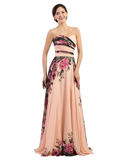 f04725f660fa7 GRACE KARIN Floral Print Graceful Chiffon Prom Dress for Women  (Multi-Colored)