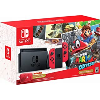 Nintendo - Switch 32GB Super Mario Odyssey Edition Bundle - Red Joy-Con