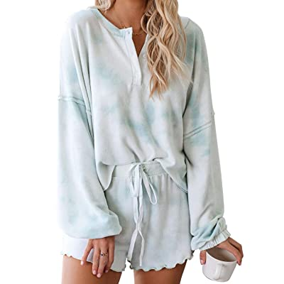Asvivid Womens Tie Dye Printed Ruffle Short Pajamas Set Long Sleeve Tee and Pants PJ Set Loungewear Nightwear Sleepwear at Women's Clothing store