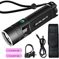 BYBLIGHT Tactical Flashlight Torch, Super Bright 1000 Lumens Rechargeable Bike Light Torch, Cree XM-L2 LED Torch with Holster, USB Chargeable with 2x 2600mAh (18650) Batteries for Camping Cycling Hiking Outdoor Indoor Use