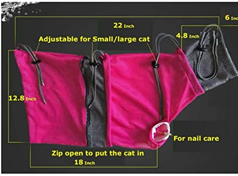 Amazon.com : LODESTAR Cat Grooming Bag & Cat Tunnel Pet Supplies for Bath, Injection, Nail Clipping (Cherry) : Pet Supplies