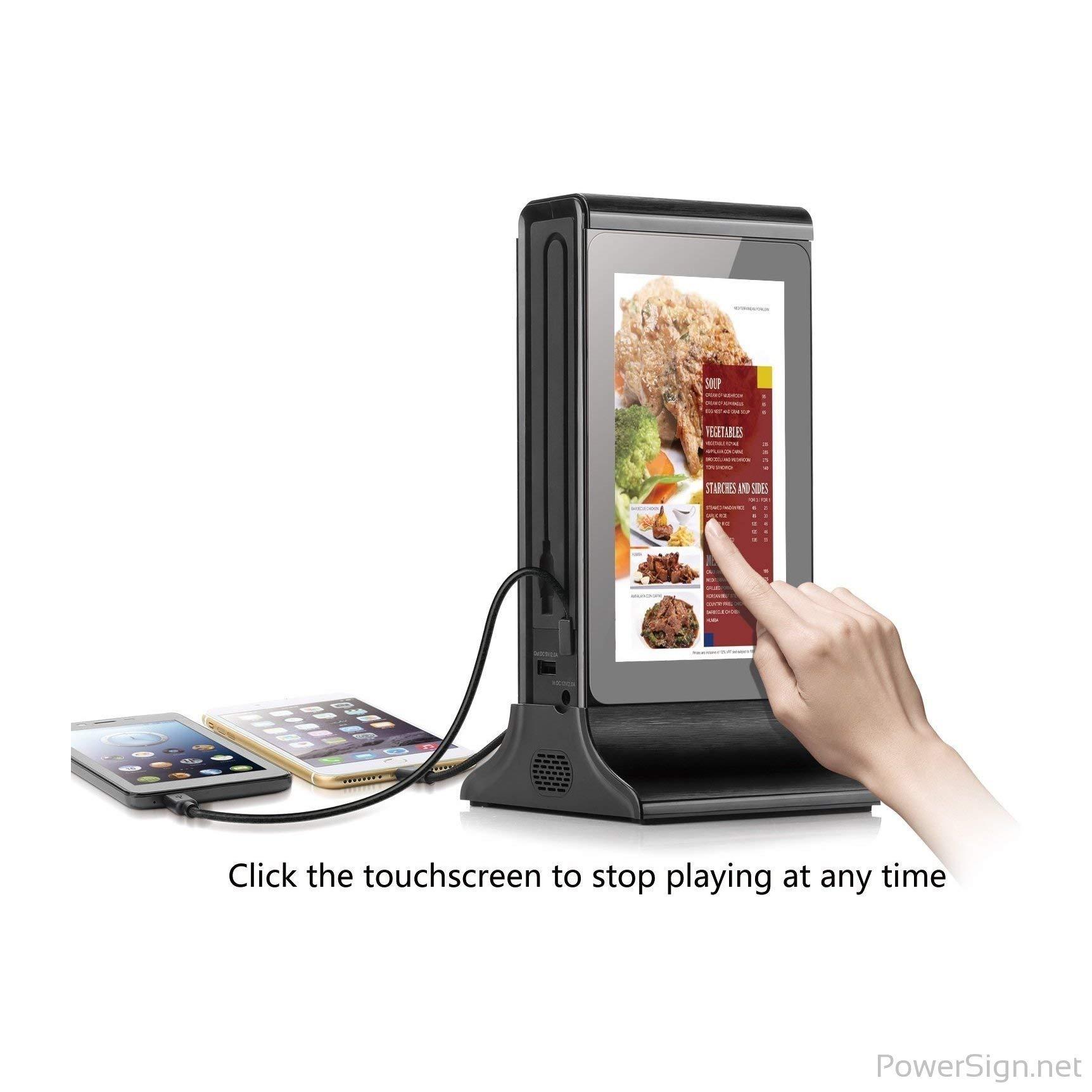PowerSign FYD-835S WiFi Table Advertising Player Single LCD/Restaurant Menu/Charging Station FYD835S (Black)