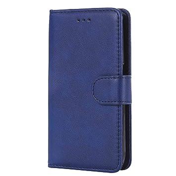 DENDICO Funda Galaxy J1 2016, Ultra-Fina Flip Libro Carcasa de Cuero, Piel Protección Cover para Samsung Galaxy J1 2016 - Azul