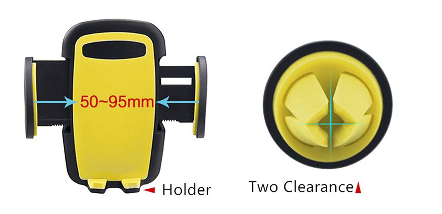 LG,GPS and 52-95mm Width Smart phones DECVO Air Vent Car Phone Mount Samsung Galaxy Easy Release Button and 360 Degree Adjustable Clamp with Universal Phone Cradle for iPhone yellow Holder Cradle