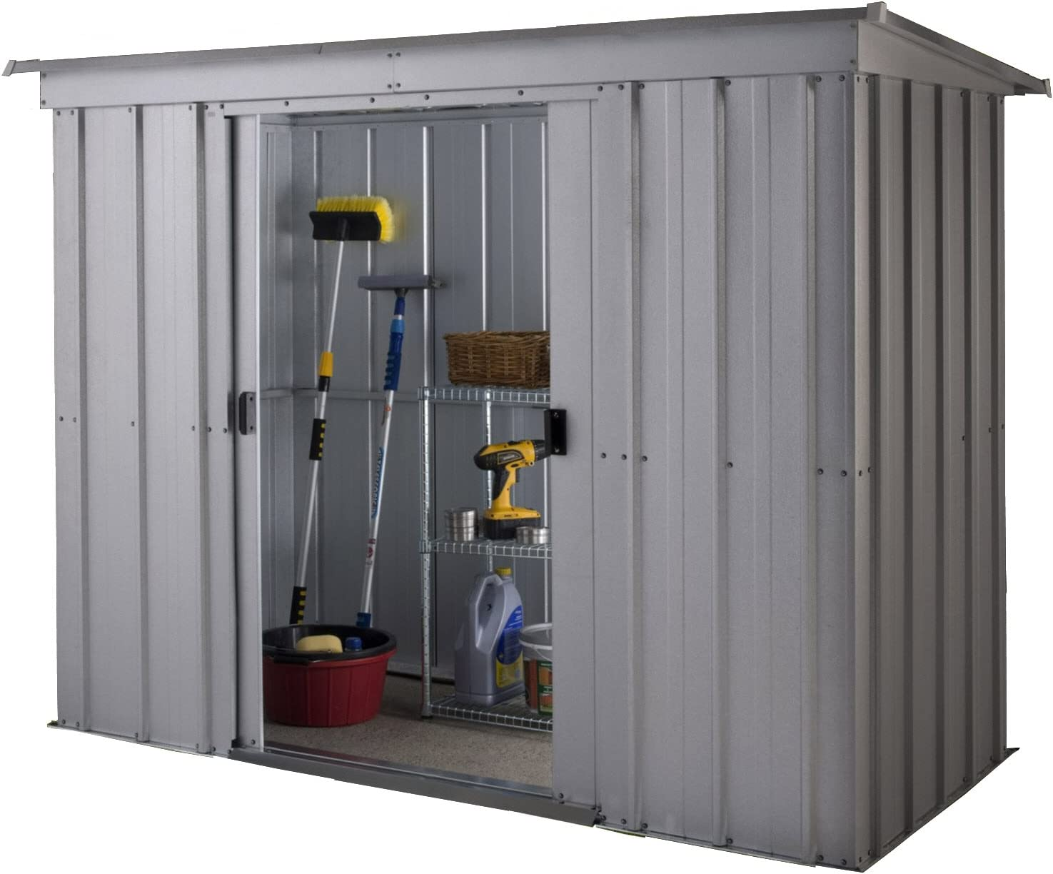 Yardmaster 6 x 4 ft Store-All Pent Roofed Metal Shed Silver