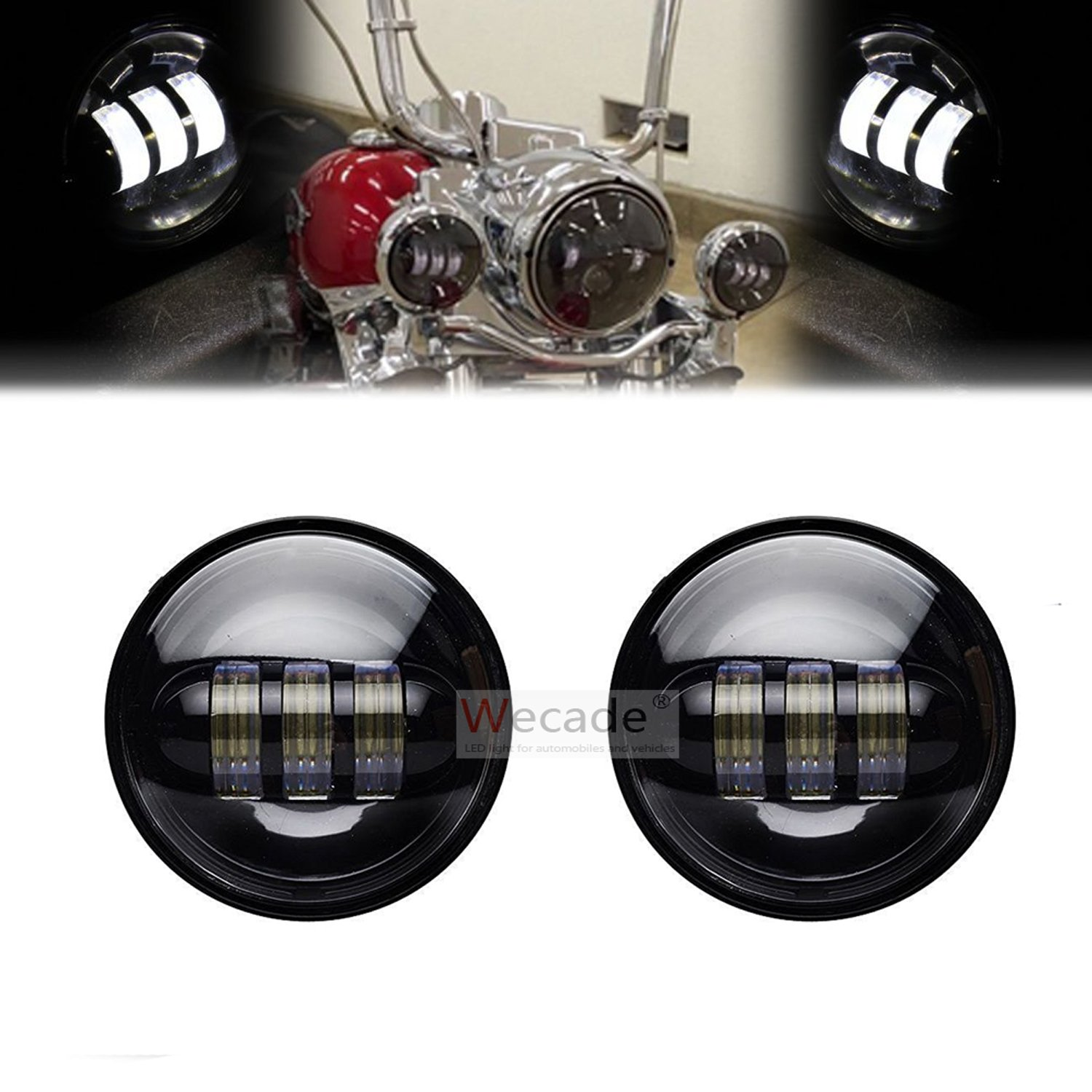 Wecade 4-1/2'' 4.5inch LED Passing Light for Harley Davidson Fog Lamps Auxiliary Light Bulb Motorcycle Daymaker Projector Spot Driving Lamp Headlight (Black)