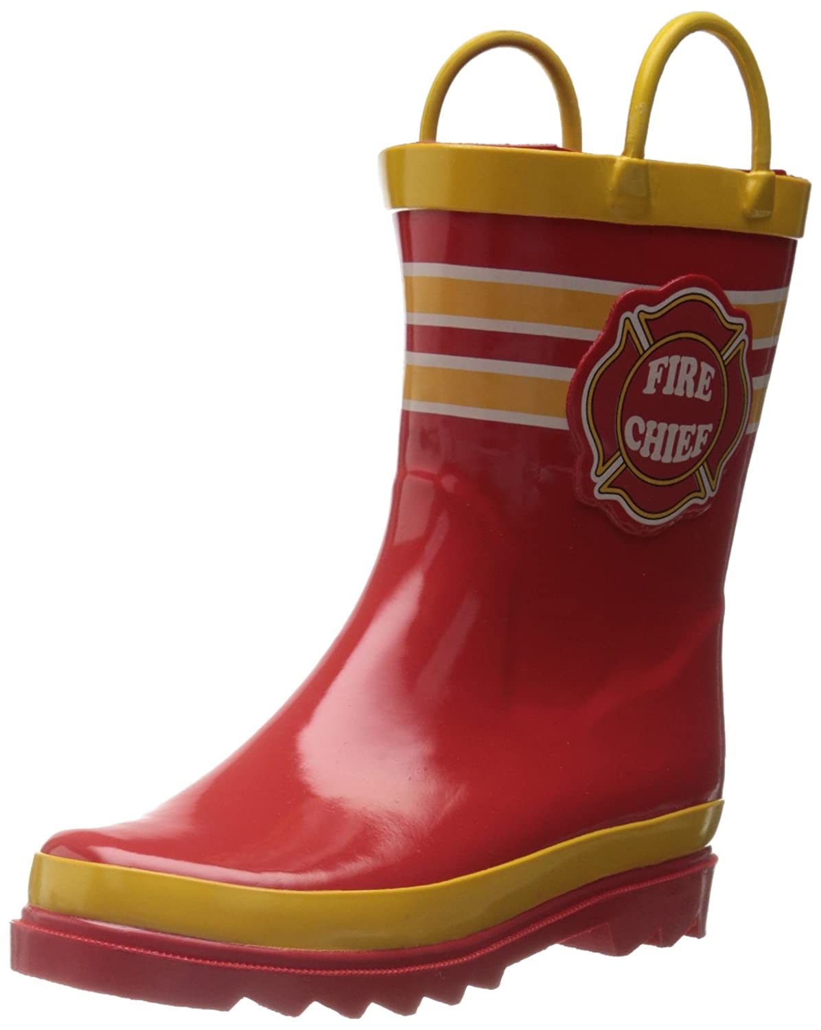 Puddle Play Kids Boys' Fire Chief Character Printed Waterproof Easy-On Rubber Rain Boots (Toddler/Little Kids)