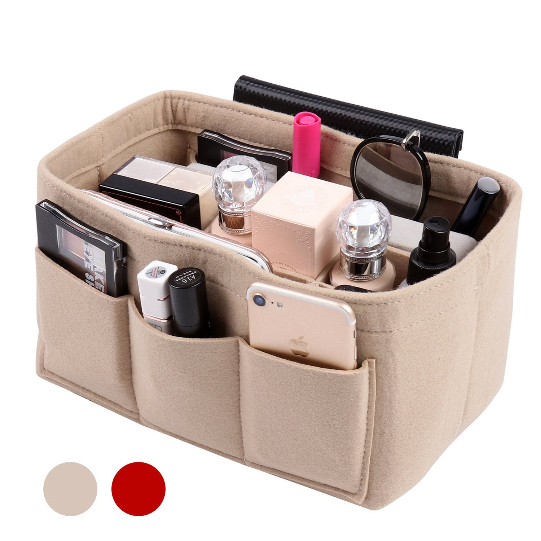 Handbag Organizer Bag Purse Insert Bag in Bag Felt Fabric MultiPocket Liner Organizer Tote Travel (Medium, beige)