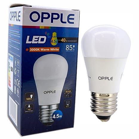 E27 4,5 bombilla LED EcoMax Opple W, luz blanca cálida, 6 unidades