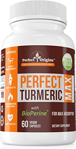 Perfect Origins Perfect Turmeric Max, Supplement for Pain Relief, Anti-Inflammatory Support, and Healthy Aging