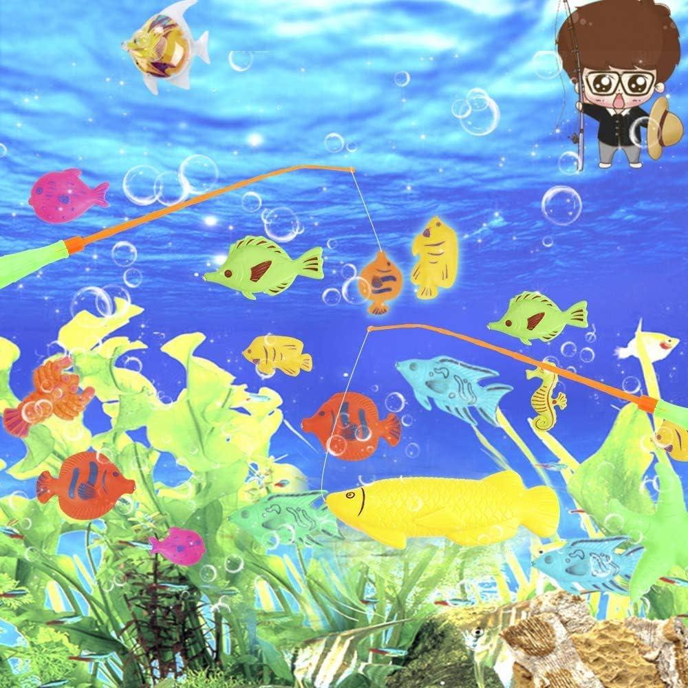 Colorful Juguete Magn/ético de la Pesca con Ca/ña Flotando Peces para Beb/é y Ni/ños 39 Piezas Juguete de la Flotando Pesca Conjunto para Ni/ños Oulian Juego De Pescar para Ni/ños