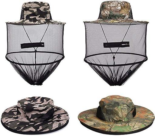 Safari Hat Sun Hat Bucket Hat with Hidden Net M... UShake Mosquito Head Net Hat