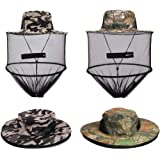 VIPITH 2 Pack Mosquito Head Net Hat Sun Hat Bucket Hat with Hidden Net Mesh Mask Protection from Insect Bug Bee Mosquito Gnats for Outdoor Lover Fishing Hiking Gardening Beekeeping Men or Women