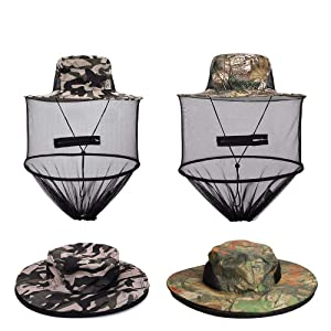 VIPITH 2 Pack Mosquito Head Net Hat, Sun Hat Bucket Hat with Hidden Net Mesh Mask, Protection from Insect Bug Bee Mosquito Gnats for Outdoor Lover Fishing Hiking Gardening Beekeeping Men or Women