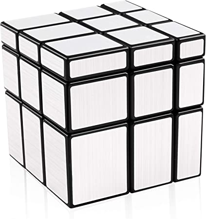 D-FantiX Shengshou Mirror Cube 3x3x3 Speed Cube 3x3 Mirror Blocks Cube Different Shapes Silver Cube 57mm