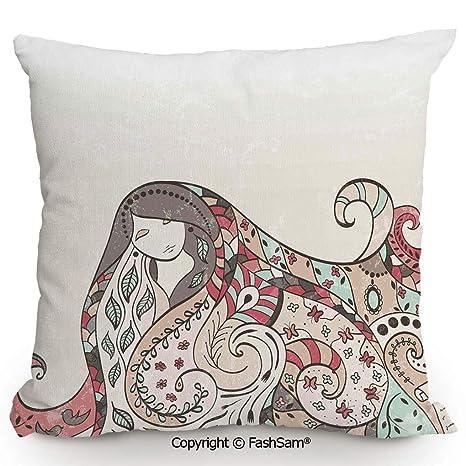 FashSam - Funda de almohada decorativa para niña con pelo ...