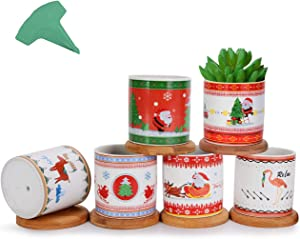 GROWNEER 6 Packs 3 Inches Christmas Ceramic Succulent Plant Pots Succulent Planter with 15 Pcs Plant Labels, Small Flower Pots with Bamboo Trays for Gift, Home Décor