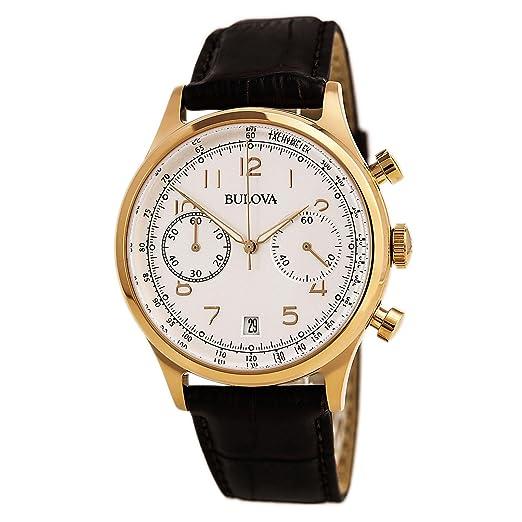 Bulova para hombre Classic marrón correa oro rosa Accent reloj Vintage: Bulova: Amazon.es: Relojes