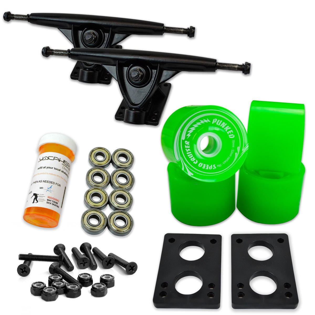 Yocaher Longboard Skateboard Trucks Combo Set w/ 71mm Wheels + 9.675'' Polished/Black Trucks Package, Solid Neon Green Wheel, Black Trucks by Yocaher