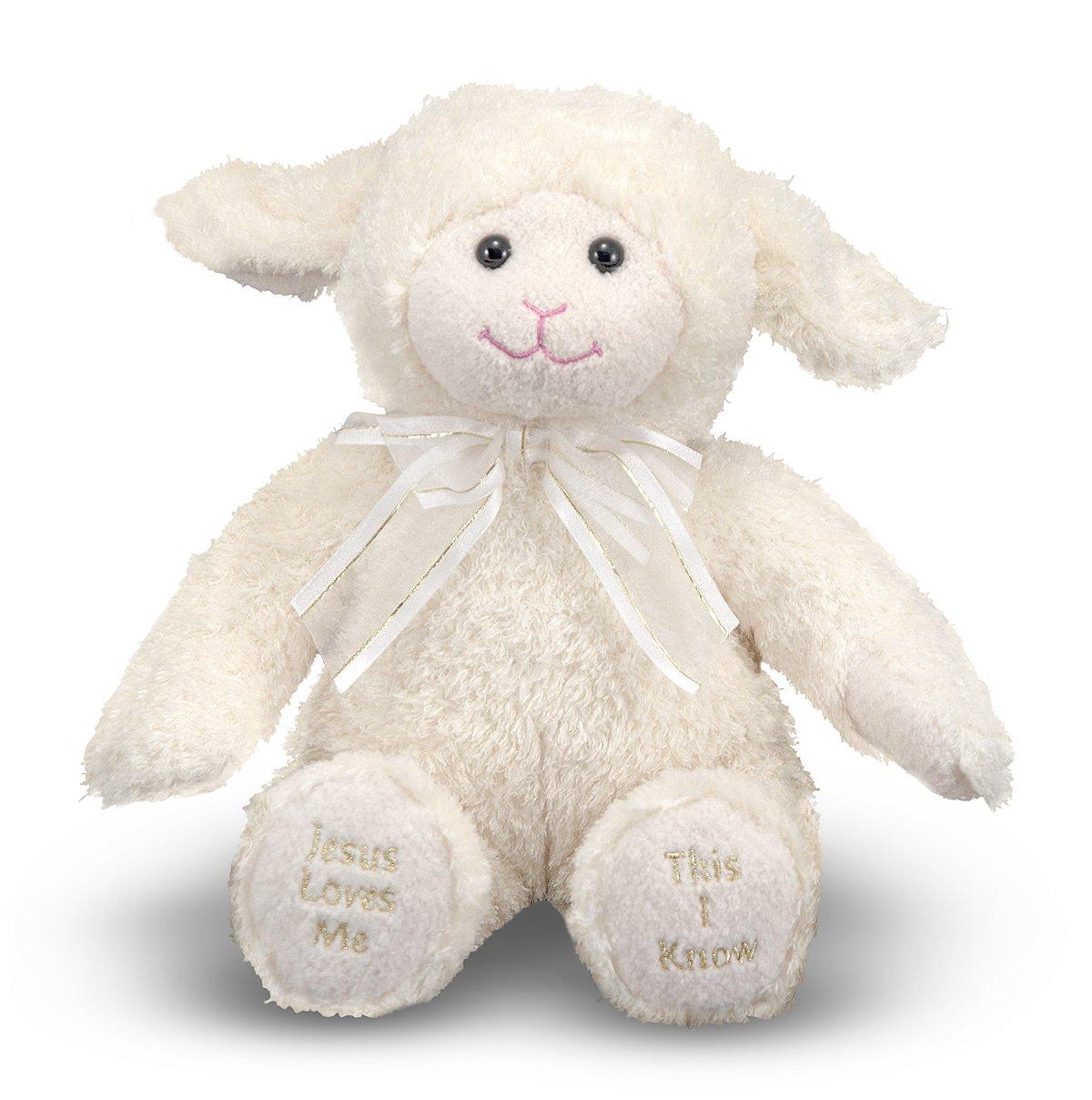 Amazon Com Melissa Doug Jesus Loves Me Lamb Stuffed Animal With