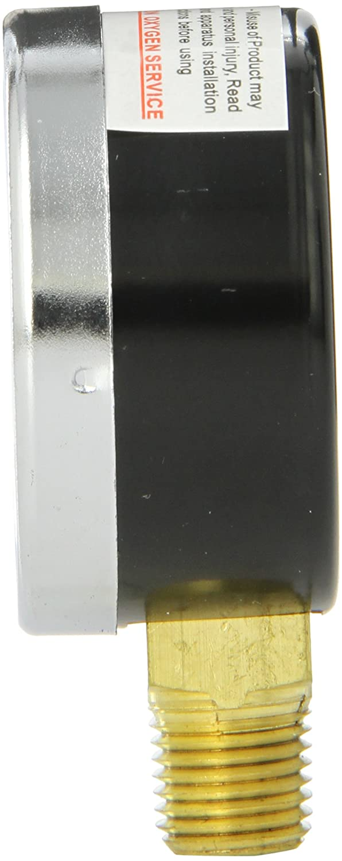 and Plastic Lens 1//4 Male NPT Connection Size PIC Gauges PIC Gauge 101D-204I 2 Dial Brass Internals 1//4 Male NPT Connection Size Chrome Bezel Bottom Mount Dry Pressure Gauge with a Black Steel Case 0//400 psi Range