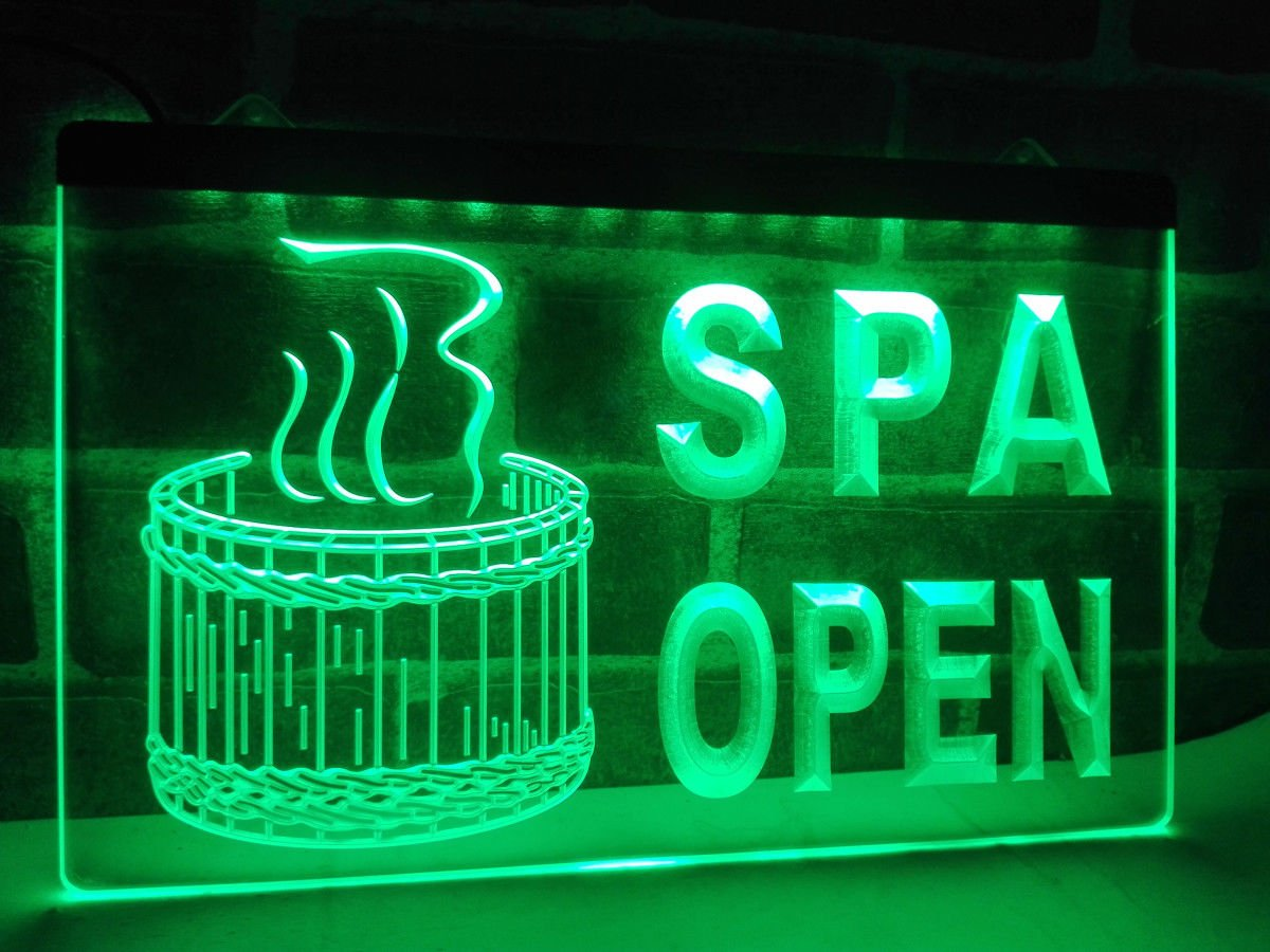 16''x12'' Spa Open LED Neon Light Sign Display (Green)
