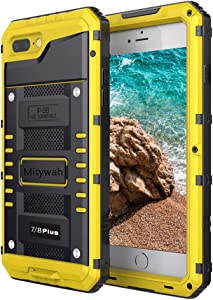 Mitywah Waterproof Case for iPhone 7 Plus, iPhone 8 Plus Heavy Duty Military Armor Metal Case, Complete Protective Rugged Shockproof Thick Dustproof Strong Case for iPhone 7 Plus/ 8 Plus, Yellow