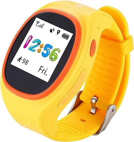 DUWIN Niños Kid Smart Watch S866A Mando a Distancia SOS Podómetro GPS Posicionamiento por iPhone y Android Smartphone DUWIN11, amarillo: Amazon.es: Deportes y aire libre