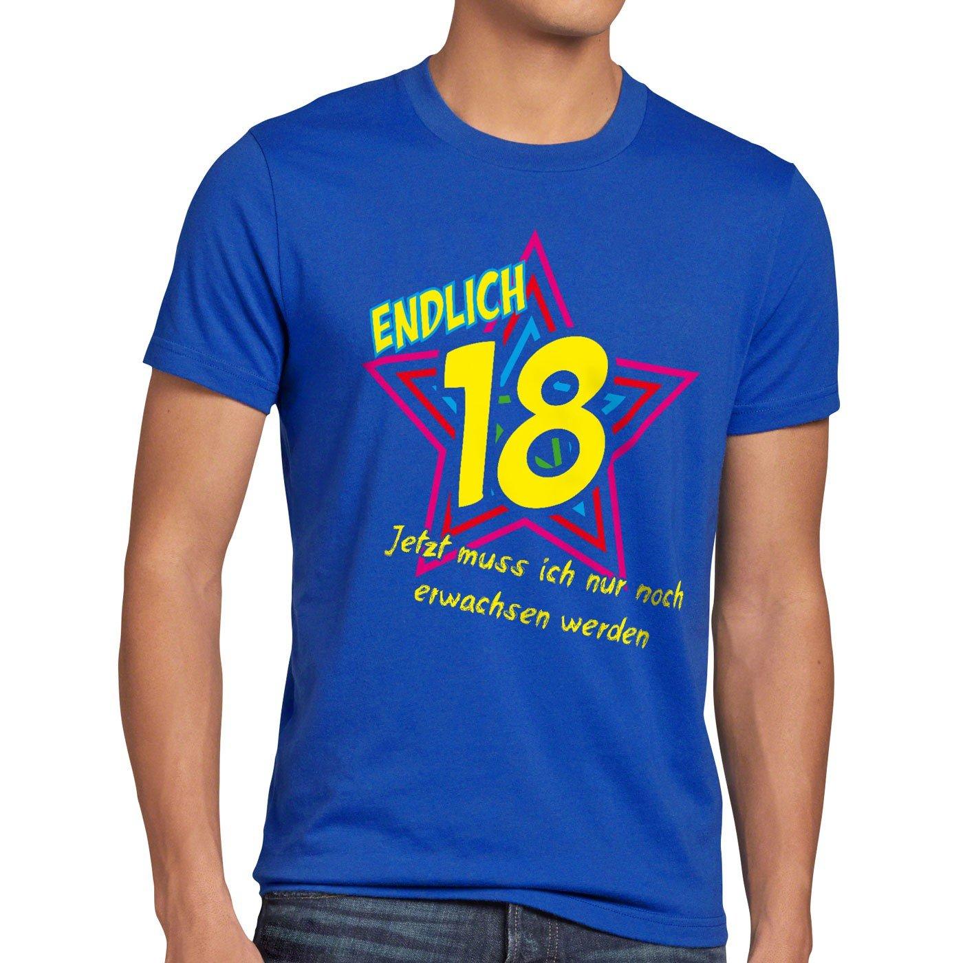 style3 Endlich 18 Herren T-Shirt Jetzt muss ich nur noch erwachsen werden!:  Amazon.de: Bekleidung