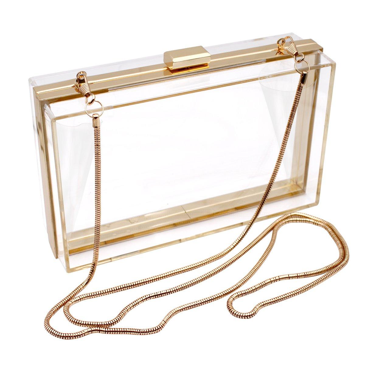 Bolso transparente hecho en material acrílico. Estructura de metal y cierre con cerrojo.