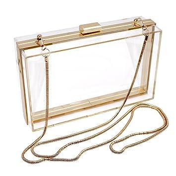 revendeur 433cf ffa7c HQdeal Luxe Acrylique à la Mode Transparent Pochettes de Soirée Sacs à  Bandoulière Sac à Main pour Dames de Femmes Cadeau Idéal