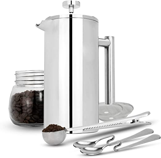 French Press Cafetiere Stainless Steel Coffee Press Maker Free Extra Filters Measuring Spoons Bag Clip Double Walled Insulation 7pc Coffee