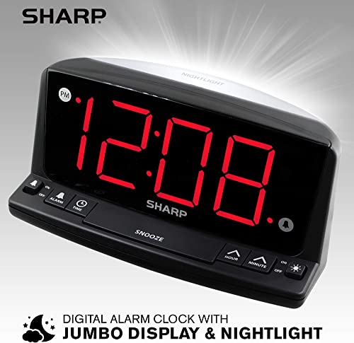 Sharp LED Digital Alarm Clock Simple Operation – Easy to See Large Numbers, Built in Night Light, Loud Beep Alarm with Snooze, Bright Big Red Digit Display