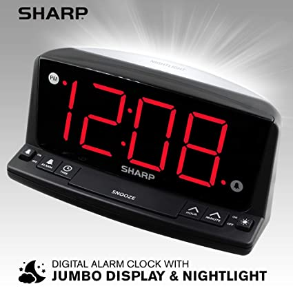 Sharp LED Digital Alarm Clock – Simple Operation - Easy to See Large  Numbers, Built in Night Light, Loud Beep Alarm with Snooze, Bright Big Red