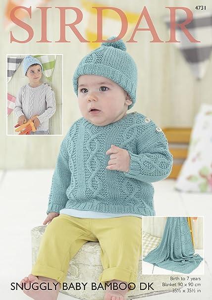 Sirdar Baby Boys Sweater Hat Blanket Baby Bamboo Knitting