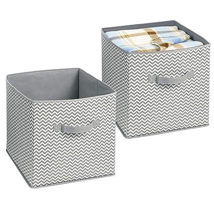 mDesign Organizador de tela – 2 Cajas para organizar juguetes– Ideal caja de tela para