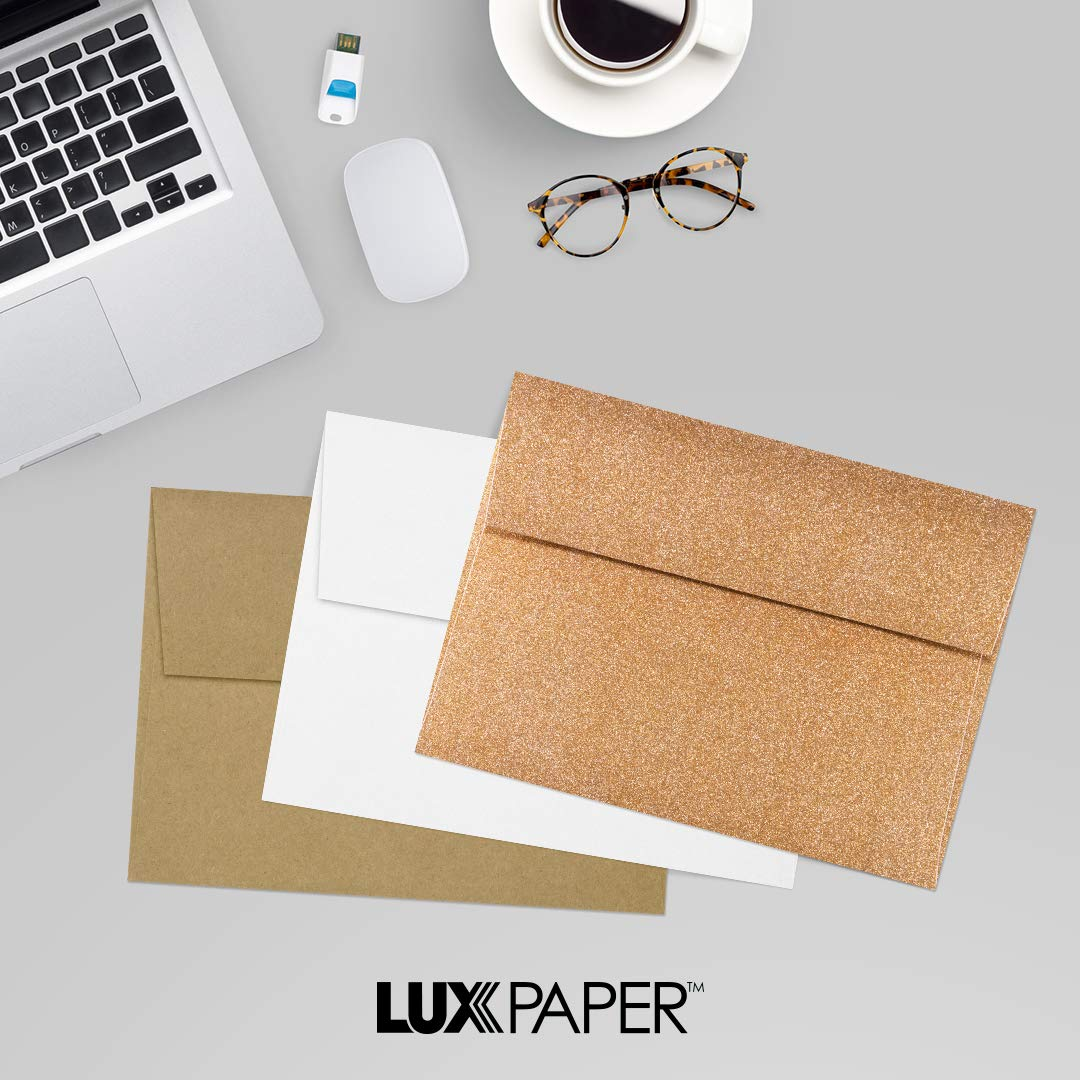 LUXPaper A7 Invitation Envelopes for 5 x 7 Cards in 80 lb. Gold Sparkle, Printable Envelopes for Invitations, w/Peel and Press Seal, 50 Pack, Envelope Size 5 1/4 x 7 1/4 (Gold) by Envelopes.com