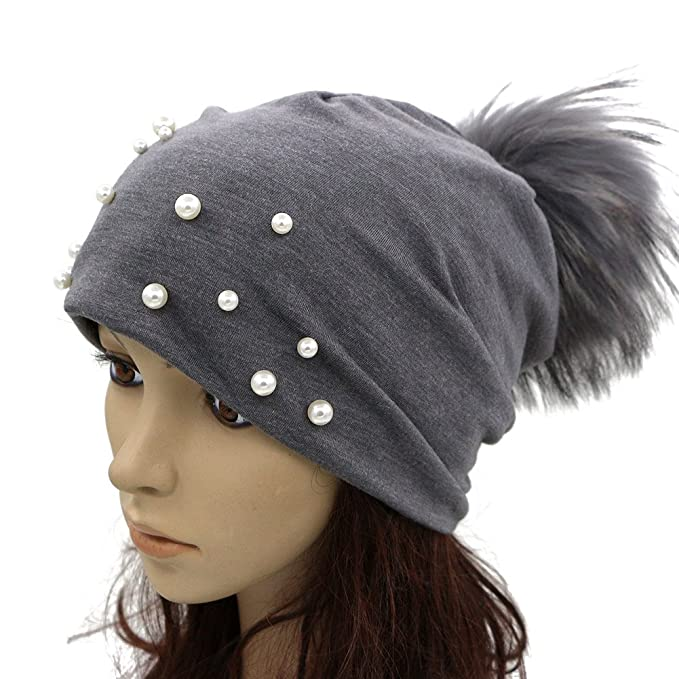 8484e70a574 Image Unavailable. Image not available for. Color  GZHILOVINGL Women Spring  Hat Sparkling Pearls Slouchy Real Pom Pom Beanie Cap