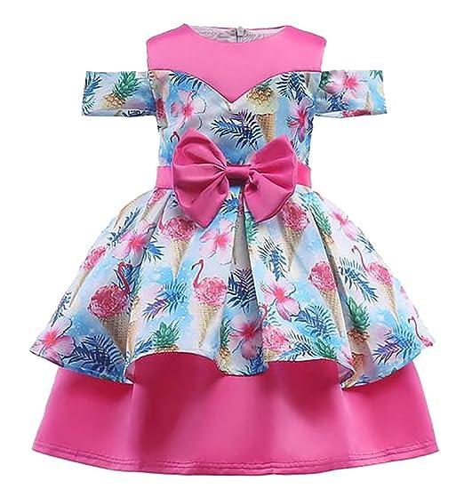 7f4145e122bb Jotebriyo Girls Summer Print Bowknot Swing Cold Shoulder Wedding Party Princess  Dress Rose Red 3-