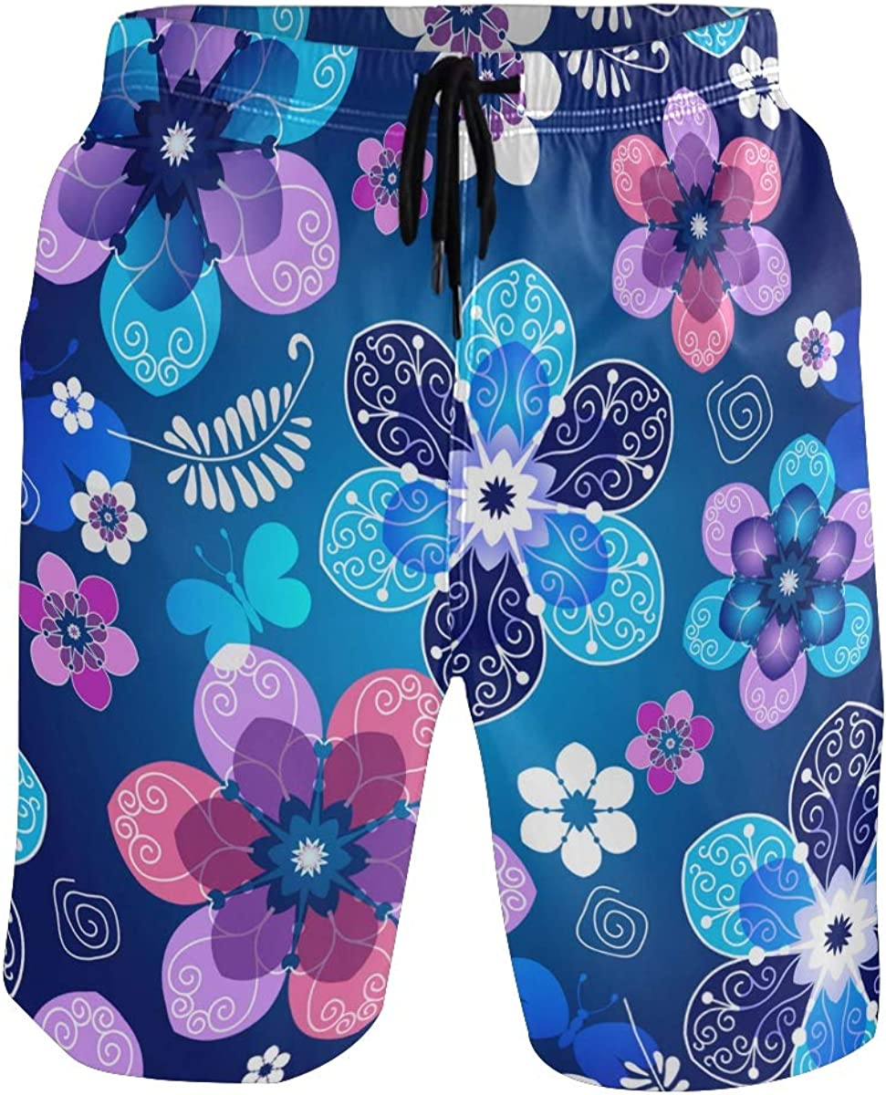 COVASA Mens Summer ShortsFloral Dark Blue Spring Pattern with Vintage Flowers
